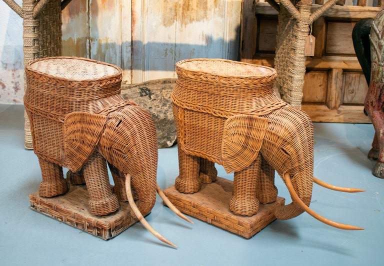 1980s Spanish pair of elephant weaved rattan side tables.