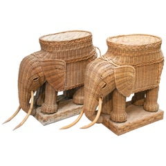 1980s Spanish Pair of Elephant Weaved Rattan Side Tables