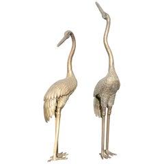 1980s Spanish Pair of Heron Garden Bronze Sculptures