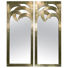 1980s Spanish Pair of Palm Shaped Bronze-Plated Wooden Mirrors