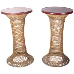 1980s Spanish Pair of Tall Woven Wicker Tables with Red Top