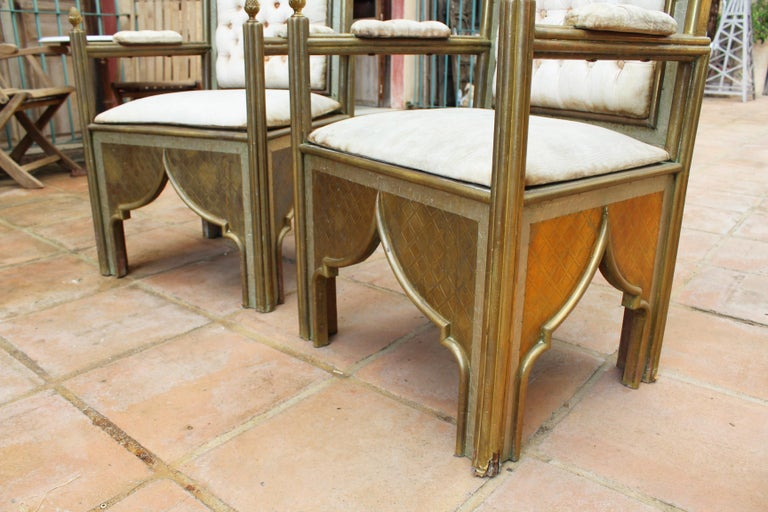1980s Spanish Pair of Two-Tone Brass Armchairs in Alfonso Dubarry's Style For Sale 10