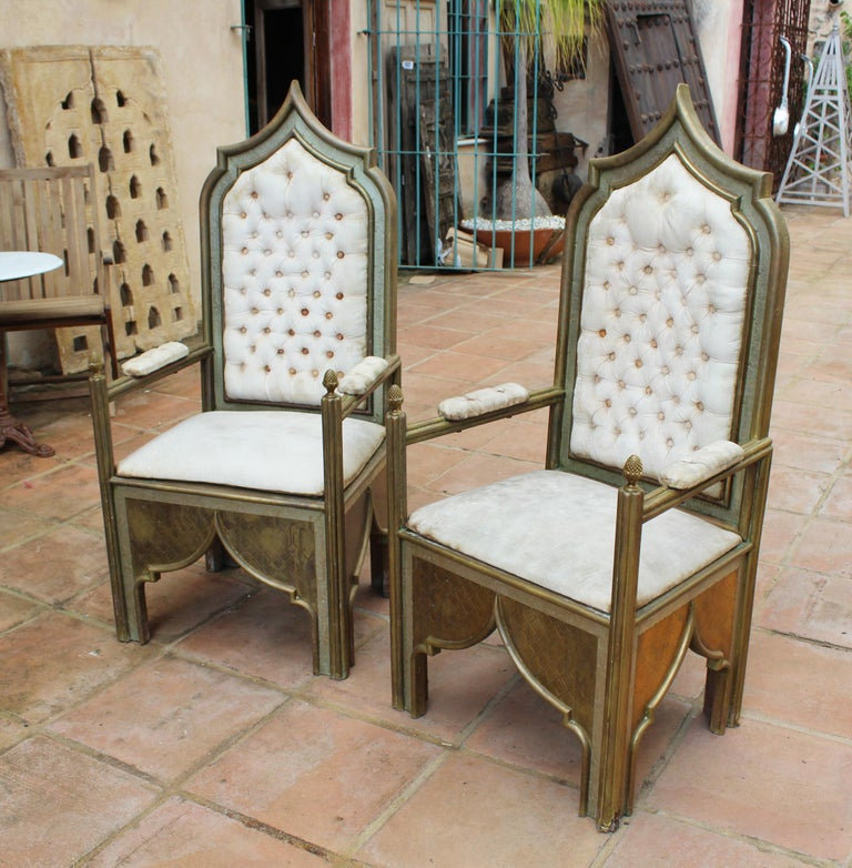 1980s Spanish pair of two-tone brass armchairs in Alfonso Dubarry's Style. handcrafted with fine brass sheets etched over a wooden frame and upholstered in white fabric.   Rodolfo Dubarry arrived in Spain in the 1970s and worked tirelessly n his