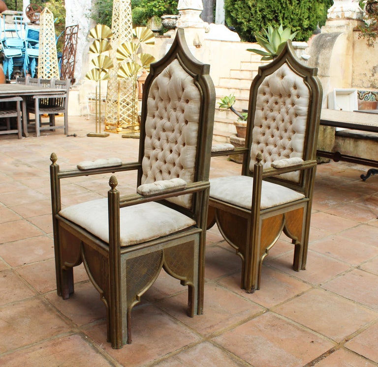 20th Century 1980s Spanish Pair of Two-Tone Brass Armchairs in Alfonso Dubarry's Style For Sale
