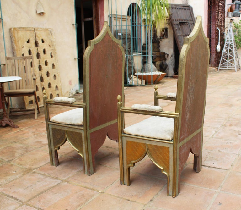 1980s Spanish Pair of Two-Tone Brass Armchairs in Alfonso Dubarry's Style For Sale 1