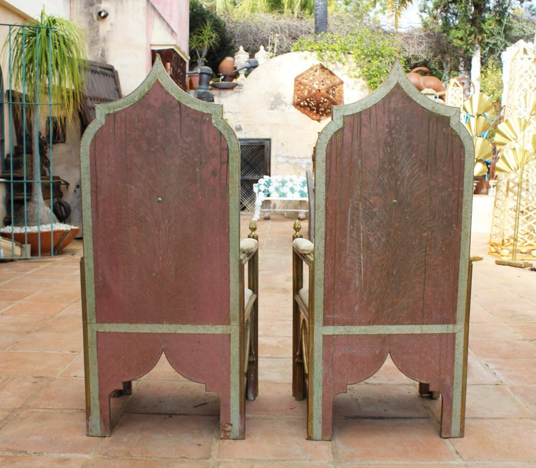 1980s Spanish Pair of Two-Tone Brass Armchairs in Alfonso Dubarry's Style For Sale 2