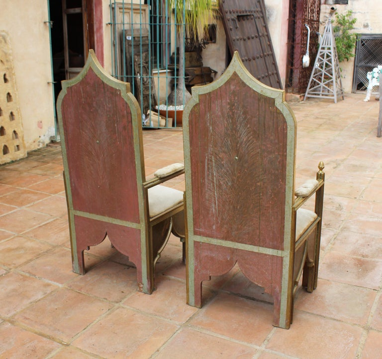 1980s Spanish Pair of Two-Tone Brass Armchairs in Alfonso Dubarry's Style For Sale 3