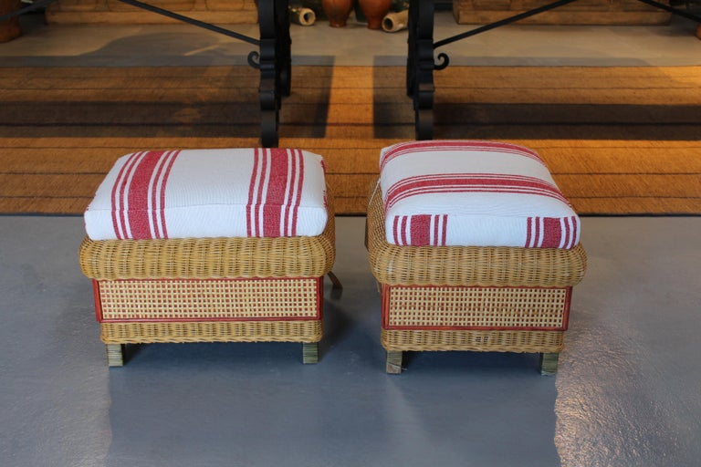 1980s Spanish pair of upholstered wicker puffs.