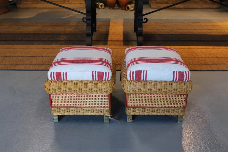 1980s Spanish Pair of Upholstered Wicker Puffs In Good Condition For Sale In Malaga, ES