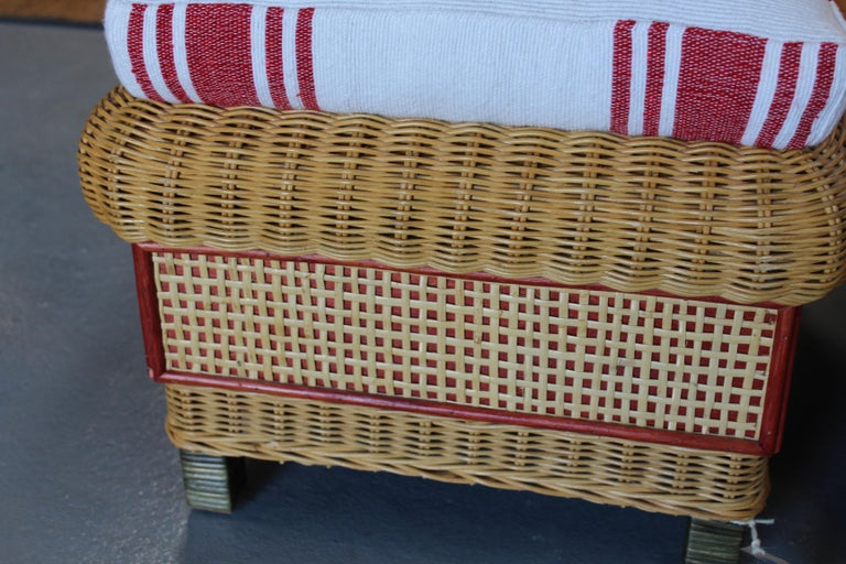 1980s Spanish Pair of Upholstered Wicker Puffs For Sale 1