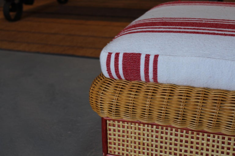 1980s Spanish Pair of Upholstered Wicker Puffs For Sale 2