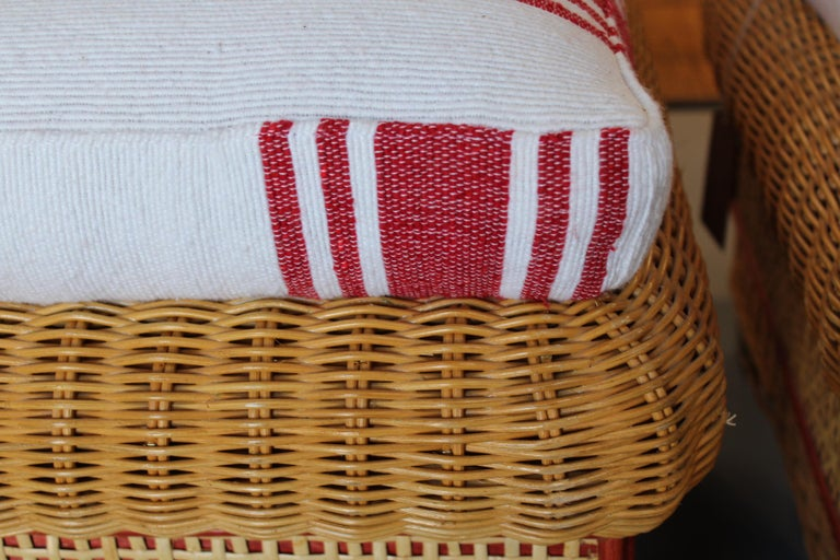 1980s Spanish Pair of Upholstered Wicker Puffs For Sale 3