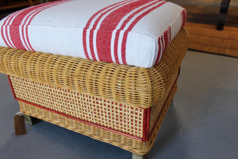 1980s Spanish Pair of Upholstered Wicker Puffs For Sale 4