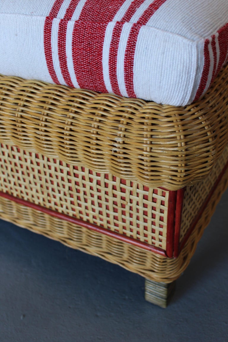 1980s Spanish Pair of Upholstered Wicker Puffs For Sale 5