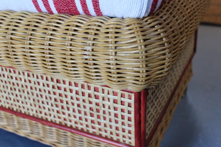 1980s Spanish Pair of Upholstered Wicker Puffs For Sale 6