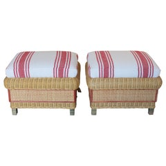 1980s Spanish Pair of Upholstered Wicker Puffs