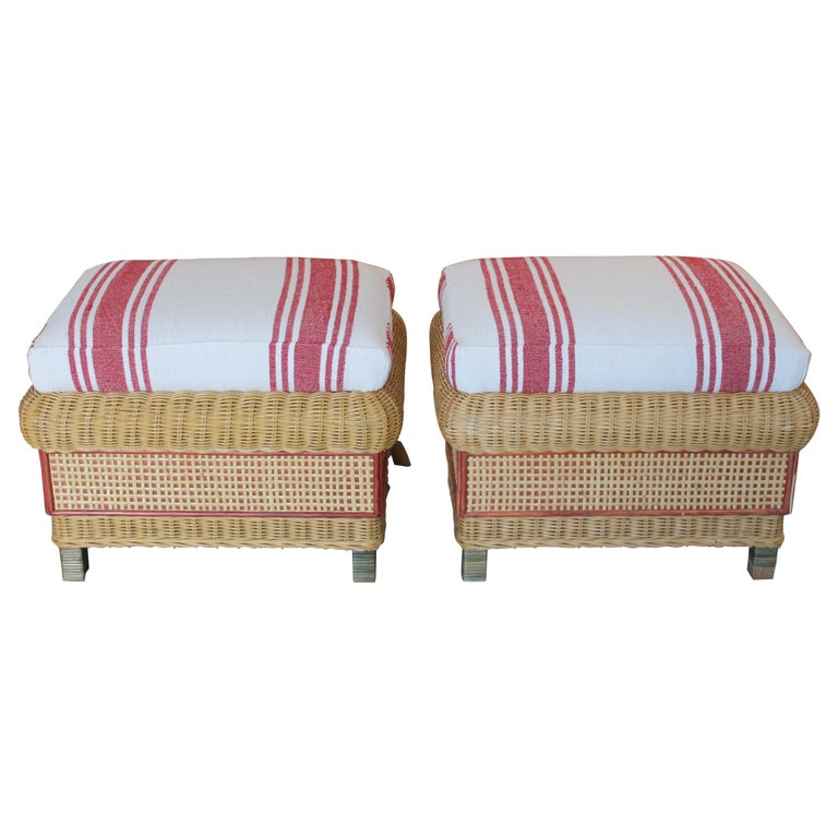 1980s Spanish Pair of Upholstered Wicker Puffs For Sale