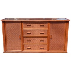 1980s Spanish Rattan and Wooden Console