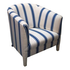 1980s Spanish Reupholstered Blue & White Fabric Sofa Chair