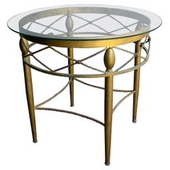 1980s Spanish Round Crystal Top Iron Side Table