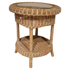 1980s Spanish Round Hand Woven Wicker Side Table w/ Glass Top