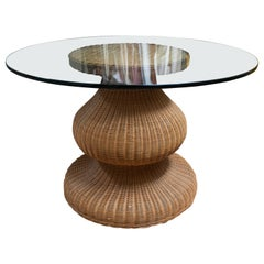 1980s Spanish Round Wicker Table with Glass Top