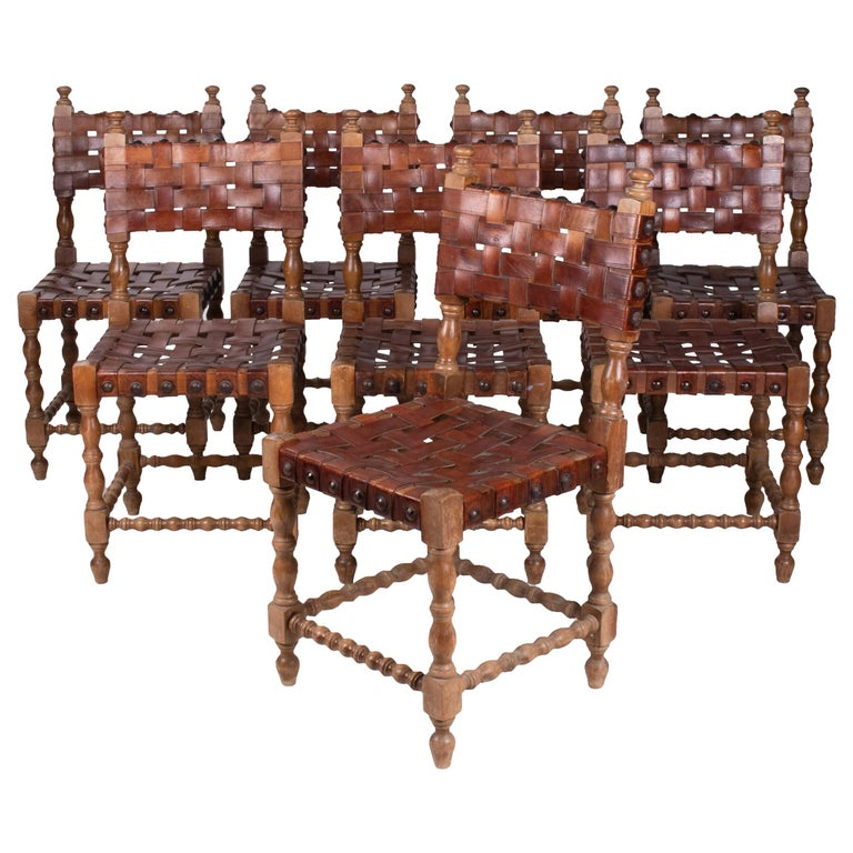 1980s Spanish Set of Eight Interlaced Leather Wooden Chairs For Sale