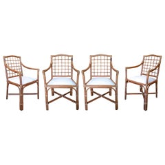 1980s Spanish Set of Four Bamboo Chairs with White Upholstered Seat Cushions
