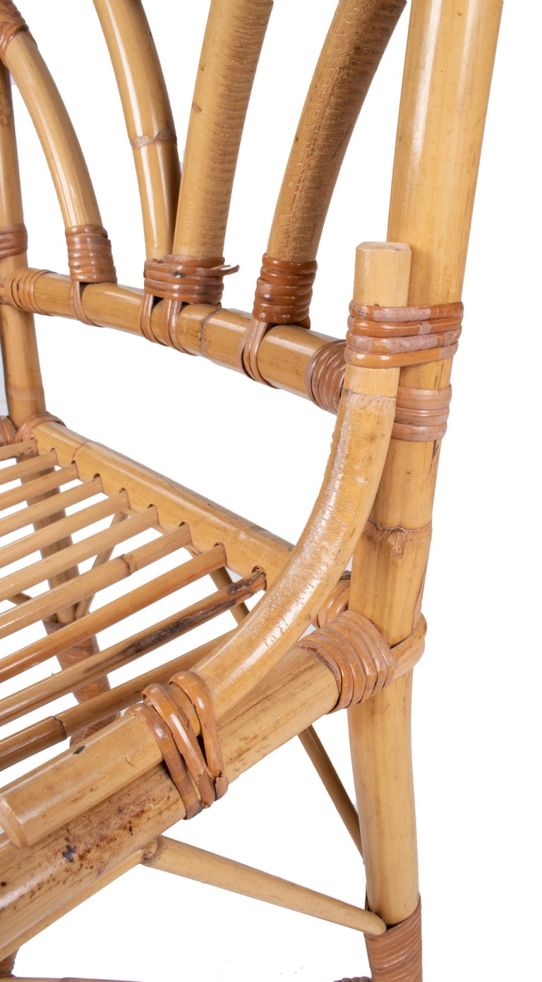 1980s Spanish Set of Six Bamboo and Wicker Chairs For Sale ...