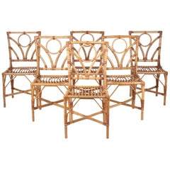 1980s Spanish Set of Six Bamboo and Wicker Chairs