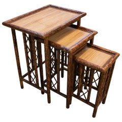 1980s Spanish Set of Three Bamboo and Rattan Nesting Tables