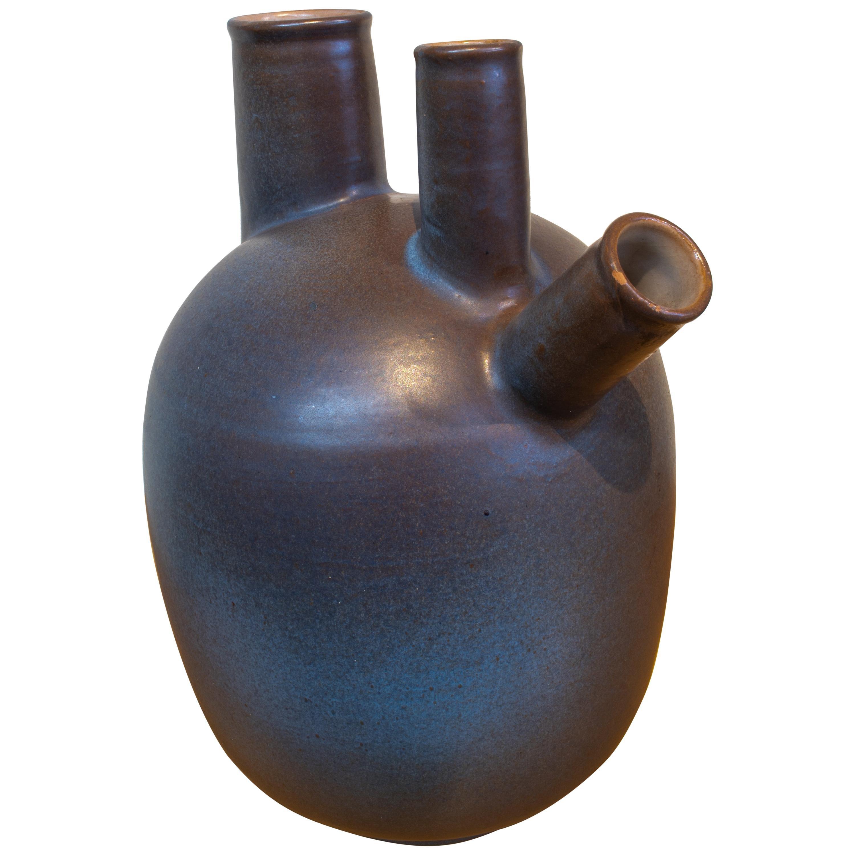 1980s Spanish Three Mouth Ceramic Vase Signed Fernando 12/1980