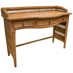 1980s Spanish Weaved Rattan Three-Drawer Office Desk