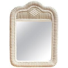 1980s Spanish White Wicker Framed Mirror