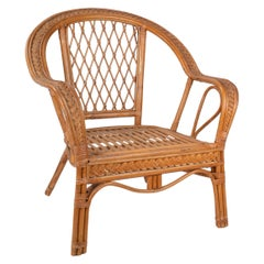 1980s Spanish Wicker and Bamboo Decorated Wooden Armchair