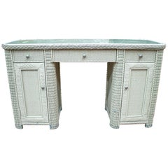1980s Spanish Wicker Office Desk with Drawers