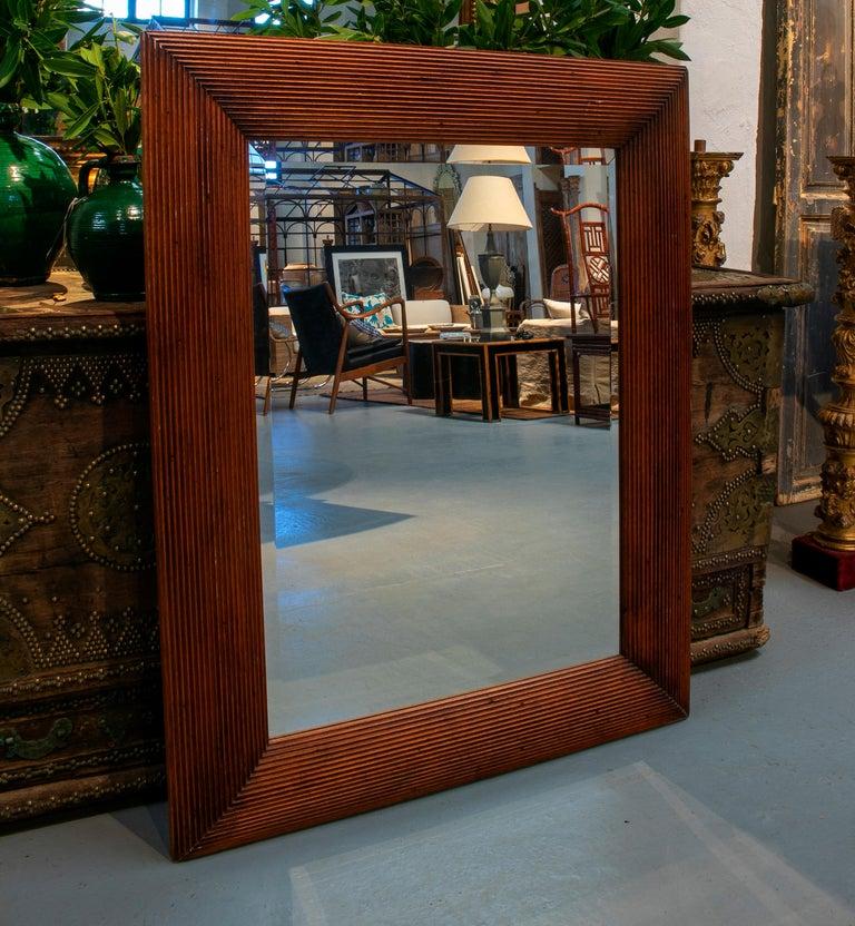 1980s Spanish wooden mirror.