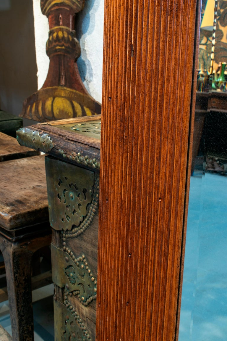 1980s Spanish Wooden Mirror For Sale 1