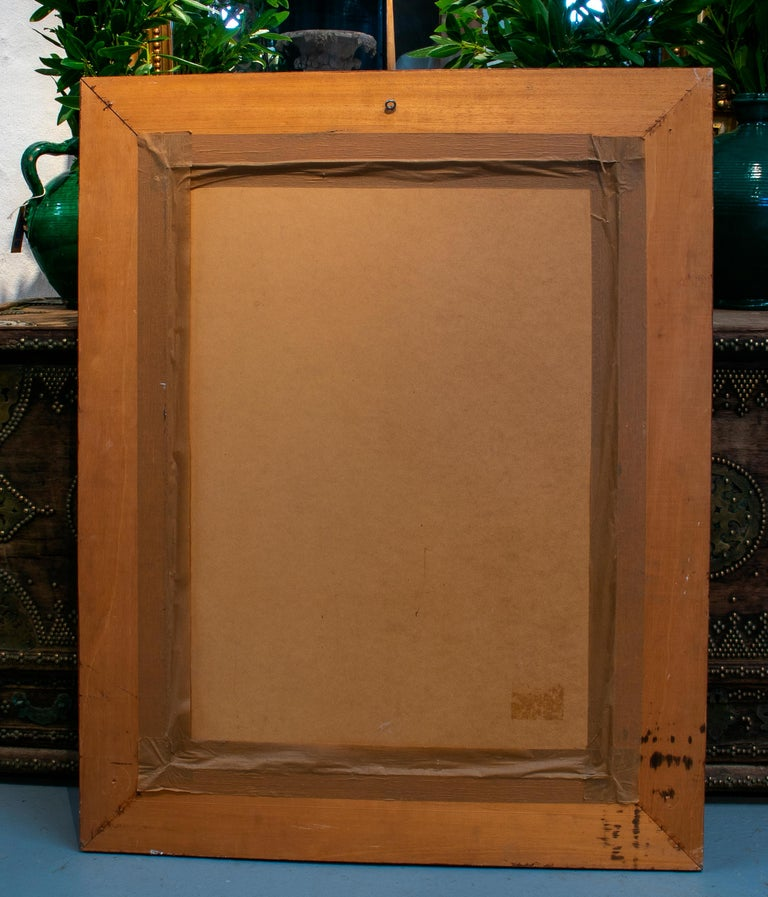 1980s Spanish Wooden Mirror For Sale 3