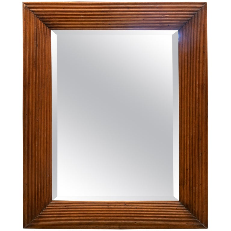 1980s Spanish Wooden Mirror For Sale