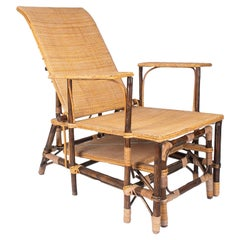 1980s Spanish Woven Wicker & Bamboo Sunbathing Lounge Chair