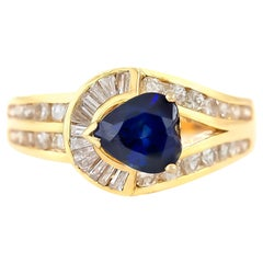 1980s Special Design Sapphire and Diamond Ring