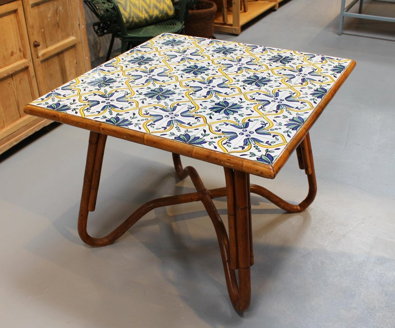 1980s squared bamboo and canework table with tiles.
