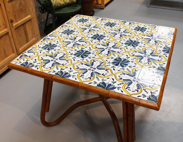 Spanish 1980s Squared Bamboo and Canework Table with Tiles For Sale