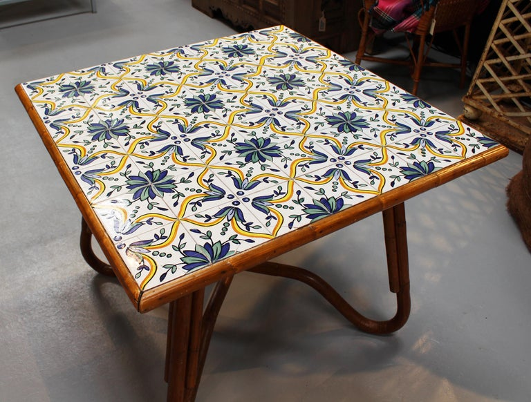 1980s Squared Bamboo and Canework Table with Tiles In Good Condition For Sale In Malaga, ES