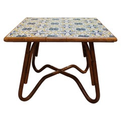1980s Squared Bamboo and Canework Table with Tiles