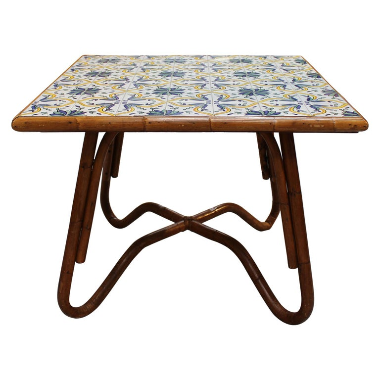 1980s Squared Bamboo and Canework Table with Tiles For Sale