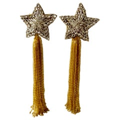 1980s Star Shoulder Duster Chandelier Statement Earrings