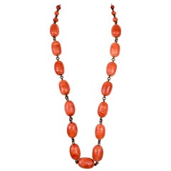 1980's STEPHEN DWECK long apple coral necklace on bronze chain