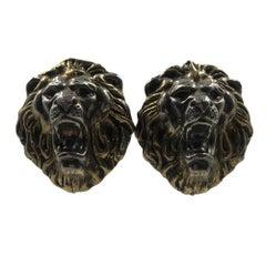 1980's Sterling Silver Lion Face Clip On Earrings